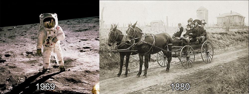 כרכרת סוסים ב-1880 לעומת נחיתה על הירח ב-1969