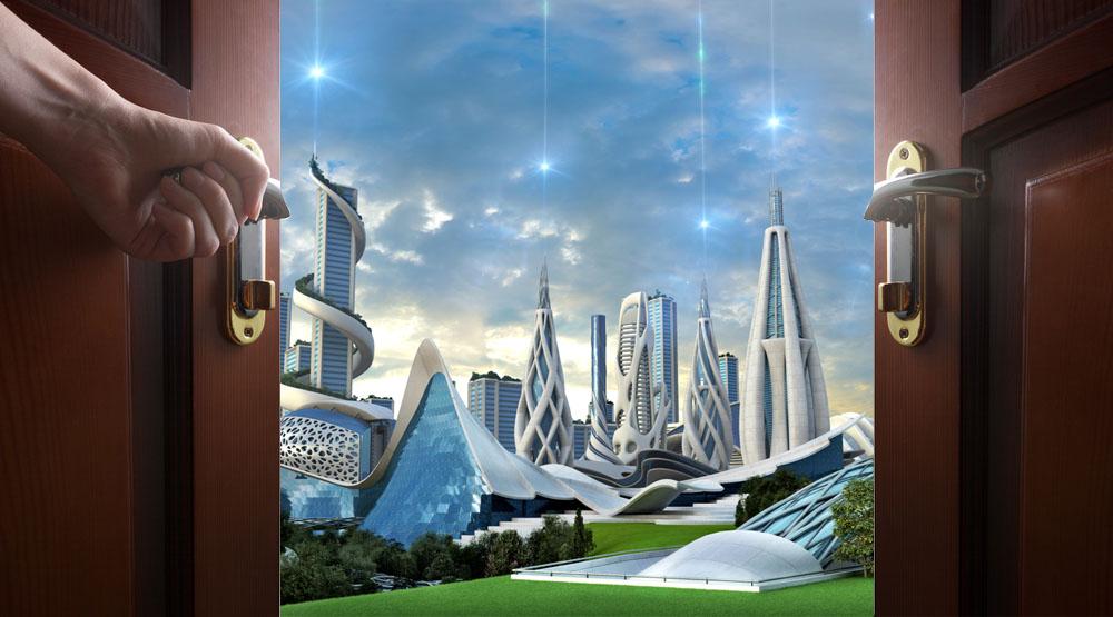 דלתות פתוחות לעבר עיר עתידית